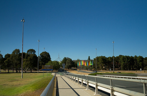 Parliament House as seen from Commonwealth Bridge, Canberra