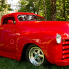 Red hotrod truck