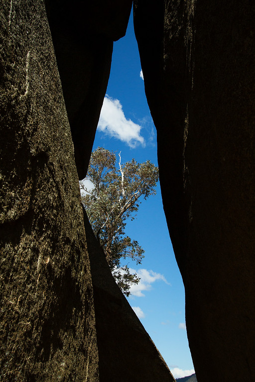 View between the cracks in the boulders at Gibraltar Peak, Tidbinbilla Canberra