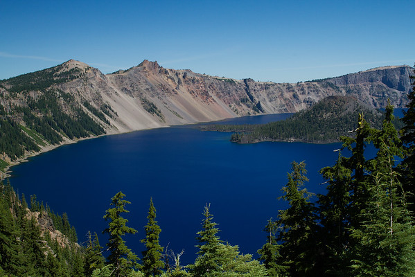 Wizard Island, Crater Lake in summer, Oregon